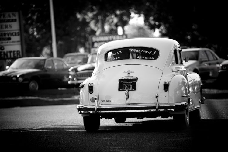 classic car just married photo