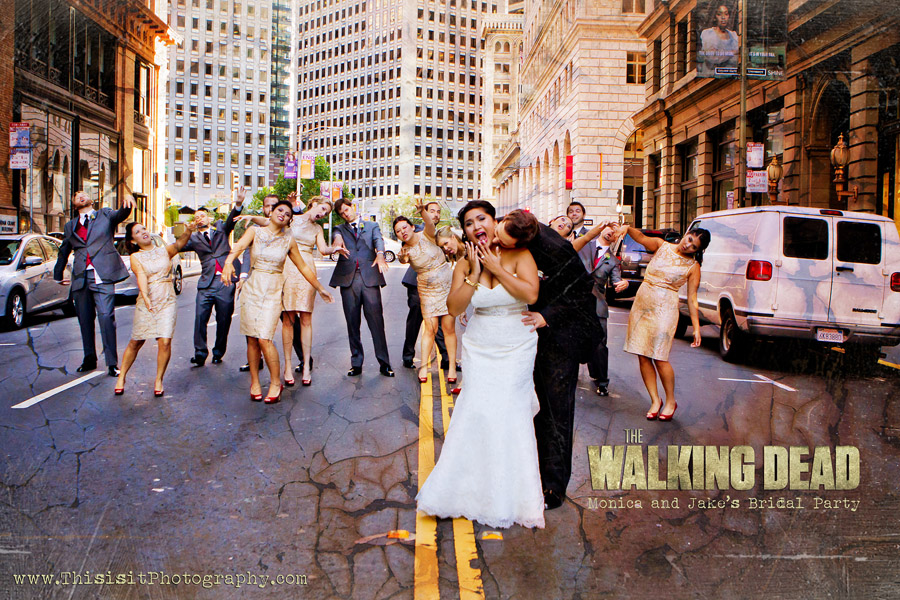 Walking Dead Bridal Party taken by  San Jose wedding photographer